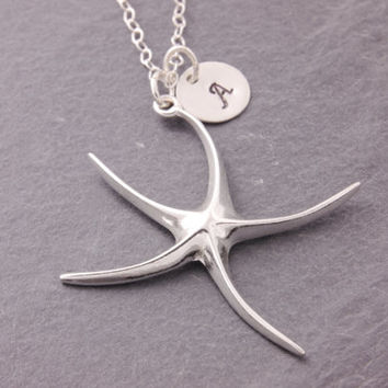 Starfish Necklace, sterling starfish, initial necklace, personalized jewelry, beach wedding, destination wedding, summer jewelry, N21