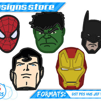 SUPERHERO APPLIQUE EMBROIDERY Machine designs Pattern Faces Set with Spiderman Ironman Batman Hulk And Superman Marvel Embroidered clipart