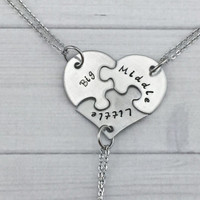 Sisters Puzzle Heart necklaces - Set of 3 matching pieces
