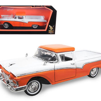1957 Ford Ranchero Pickup Truck Orange 1-18 Diecast Model Car by Road Signature