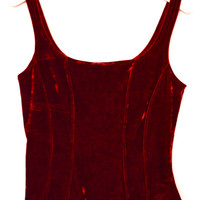 90's Cropped Ruby Crushed Velvet Tank Top size  by NightAfterNight