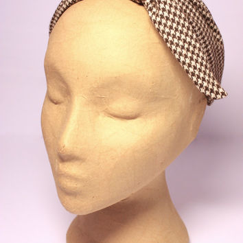 Headband. Fabric headband. Knotted headband. Tweed headband. Winter headband. Houndstooth headband. Fabric headpiece. Tweed headpiece.