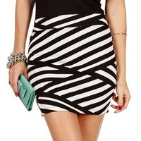 Black/Ivory Criss Cross Lines Skirt