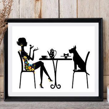 Dog card Woman with dog sitting Modern minimalist Dog lovers gift Animal print Dog print Kitchen decor Wall art Ready for print Floral dress