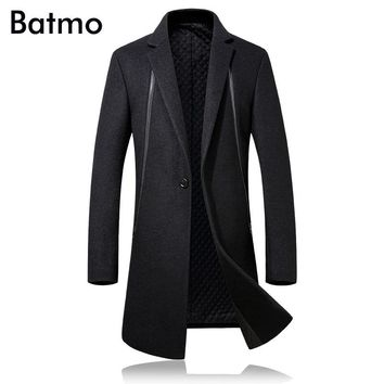 Batmo 2017 new arrival high quality wool cotton liner casual black trench coat men ,black winter wool coat men D3231