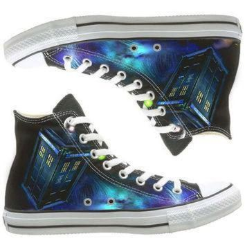 QIYIF galaxy converse dr who painted shoes custom shoes by natalshoes