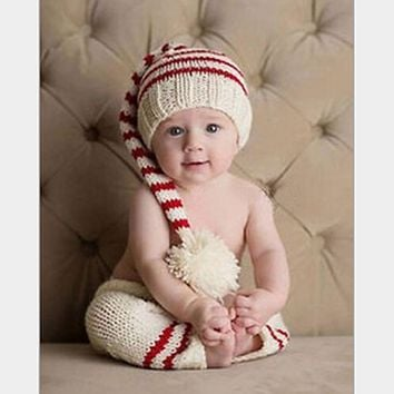 Newborn Props Baby Striped Hat + Pants Infant Crochet Knitted Christmas Costume