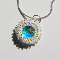 Blue Swarovski Crystal Necklace  weddings by MacKSwank