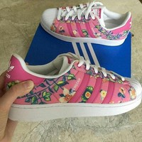 CHEN1ER adidas Originals Superstar Flowers Print Fashion Shell-toe Series Flats Sneakers Sport