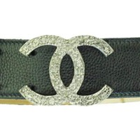 Chanel Black Leather Belt With Silver Logo Buckle