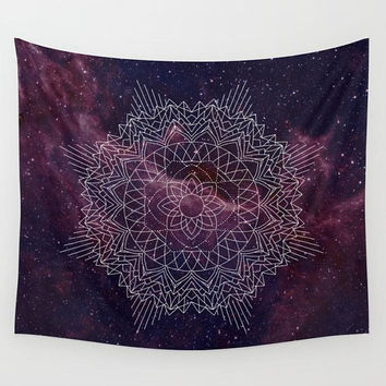 Sacred Space Wall Tapestry,  Burgundy nebula with geometric mandala, dorm room decor