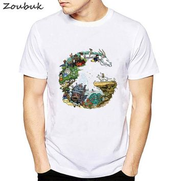 Spirited Away Letters Print T Shirt Men Japanese Anime T-shirt Kaonashi no face Fashion Summer Tops Tees camisetas hombre