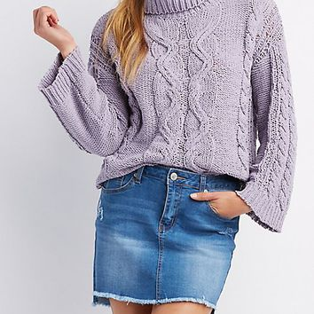 Chenille Cable Knit Sweater | Charlotte Russe