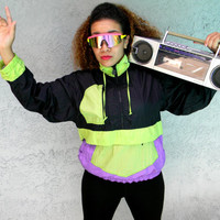 Vintage 90s Windbreaker Jacket, 90's Color Block Women's Track Suit Top, Womens Hip Hop Party Pullover Bomber in Green, Black, and Purple