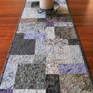 Quilted Table Runner in Serenity Taupe Prints by Daiwabo, Soft Subdued Colors, Nature Inspired, Taupe Brown Grey and Purple