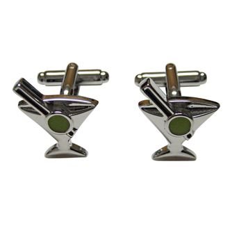 Silver Toned Detailed Martini Glass Cufflinks