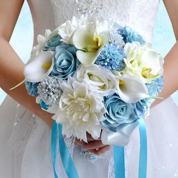 Beautiful Blue White Wedding Bouquet Handmade Artificial Lily Peony Flower Bridal Bouquet for Wedding Decoration