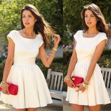 DCCKSP2 HOT SHORT SLEEVE CUTE BACKLESS DRESS