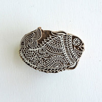 Fish Stamp: Flower Clay Textile Pottery Stamp, Indian Printing Block, Hand Carved Wood Block Stamp, Wooden Mehndi Henna Tattoo Stamp, India