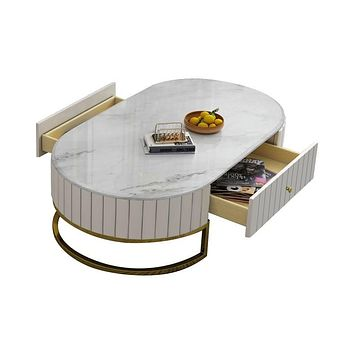 "Modern 47"" Oval Marble and Leather Coffee Table with 2 Drawers Gold Metal Base in White"