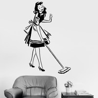 Vinyl Wall Decal Housekeeper Pin Up Girl Beautiful Woman Cleaning Stickers Unique Gift (031ig)