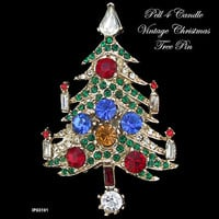 Signed Pell 4 Candle Vintage Christmas Tree Brooch Pin