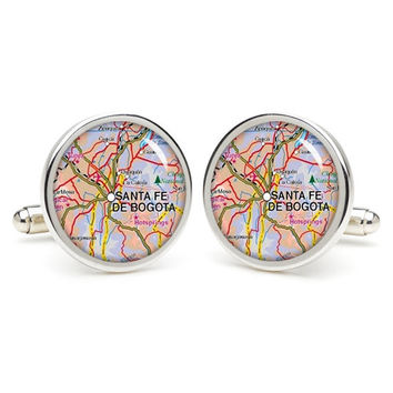 Vintage  City  map  Santa Fe De Bogota  cufflinks , wedding gift ideas for groom,gift for dad,great gift ideas for men,groomsmen cufflinks,
