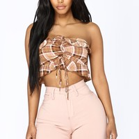 Alecia Plaid Crop Top - Brown/Multi
