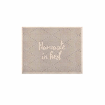 "KESS Original ""Namaste In Bed Grey"" White Gray KESS Naturals Canvas (Frame not Included)"