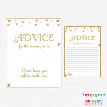Twinkle Twinkle Little Star Baby Shower, Mom Advice Cards, Pink Gold Baby Shower, Glitter Stars, Girl Baby Shower, Advice for Parents, STPG