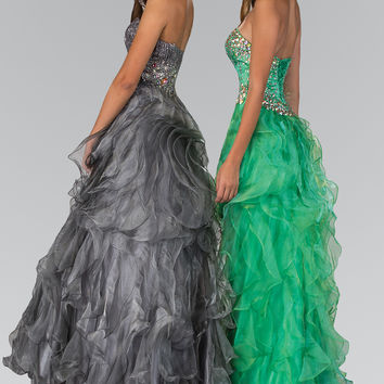 Strapless Sweetheart Organza Long Ruffle Dress with Jeweled Bodice GL1026