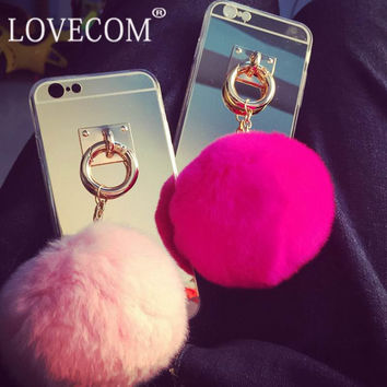 For Samsung Galaxy S3 S4 S5 S6 S7 Edge Plus For iPhone 4 5 6 6S 7 Plus Mirror Rabbit Fur Ball Pendant Soft TPU Phone Case For LG