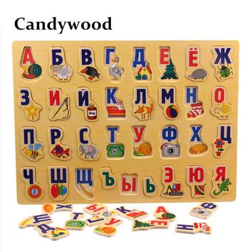 Large Wooden Puzzles Russian Alphabet Puzzle Alphabet Grasp Board Kids Early Educational Toys