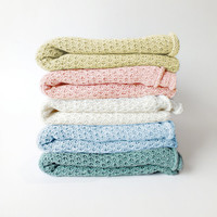 Knitted Baby Blanket - Linen baby blanket  / throw - Baby bedding - Pale Pink, Pale Blue, Aquamarine, Pale Brown, Mint, Cream, Salmon