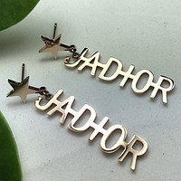 DIOR Fashion New Personality Alphabet Stars Women Earrings Long Earrings Rose gold