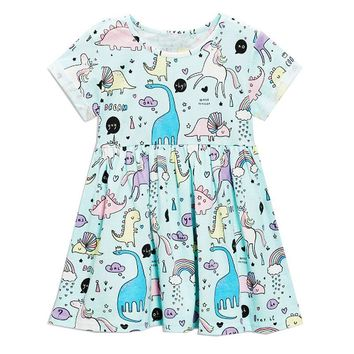 Jumping Meters Baby Girls Summer Dress Unicorn Costume for Kids Clothing 100% Cotton Princess Party Dresses Children Vestidos
