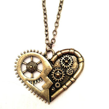 Heart Pendant Steampunk Gold Necklace