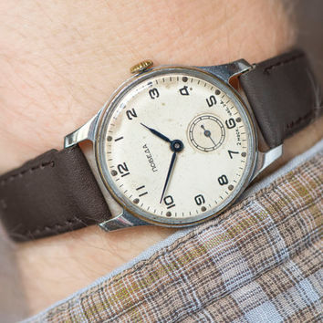 Mid century Soviet wristwatch Pobeda, mid century men's watch, classical fashion men watch, unisex watch minimalist, gift leather strap new