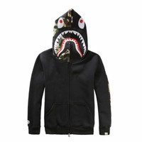 BAPE SHARK Autumn and winter tide brand camouflage Star Shark couple sweater men and women models zipper luminous hooded plus cashmere coat-1