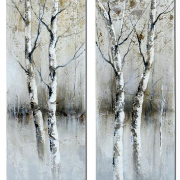 2 Art Panels - Birch Tree Theme