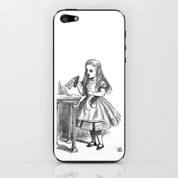 Drink Me vintage Alice in Wonderland emo goth antique book sketch drawing print  iPhone & iPod Skin by iGallery