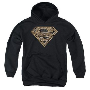 ac spbest Superman - Aztec Shield Youth Pull Over Hoodie