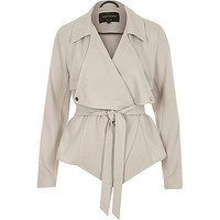 River Island Womens Grey cropped drape trench coat