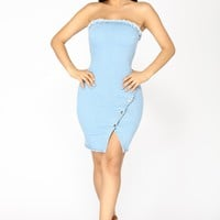 Snap Out Of It Denim Dress - Light Blue Wash