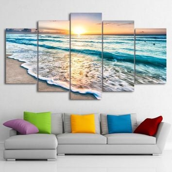 "HD 5 Piece ""Waves On Beach At Sunset!"" Painting Seascape Canvas Wall Art"
