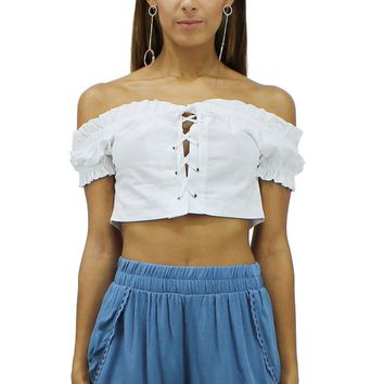 Off-the-Shoulder Lace-Up Front Short Sleeves Crop Top Blouse