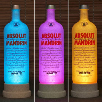 Absolut Mandrin Color Changing LED Bottle Lamp Remote Control Bar Light Intense Sparkle-Bodacious Bottles-