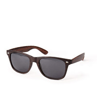 F1450 Wood Grain Wayfarer Sunglasses Brown One