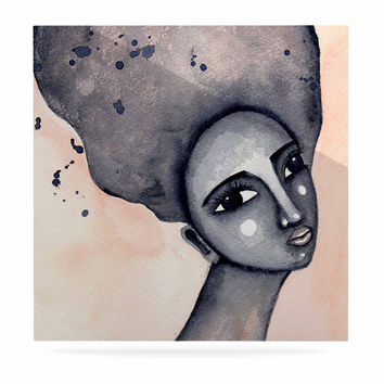 """Stacey-Ann Cole """"Yearning African American Art"""" Beige Black Luxe Square Panel"""