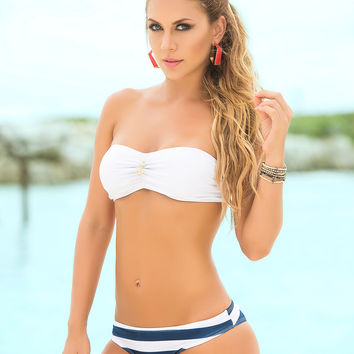 Nautical Style Navy And White Striped Bikini-Swimwear